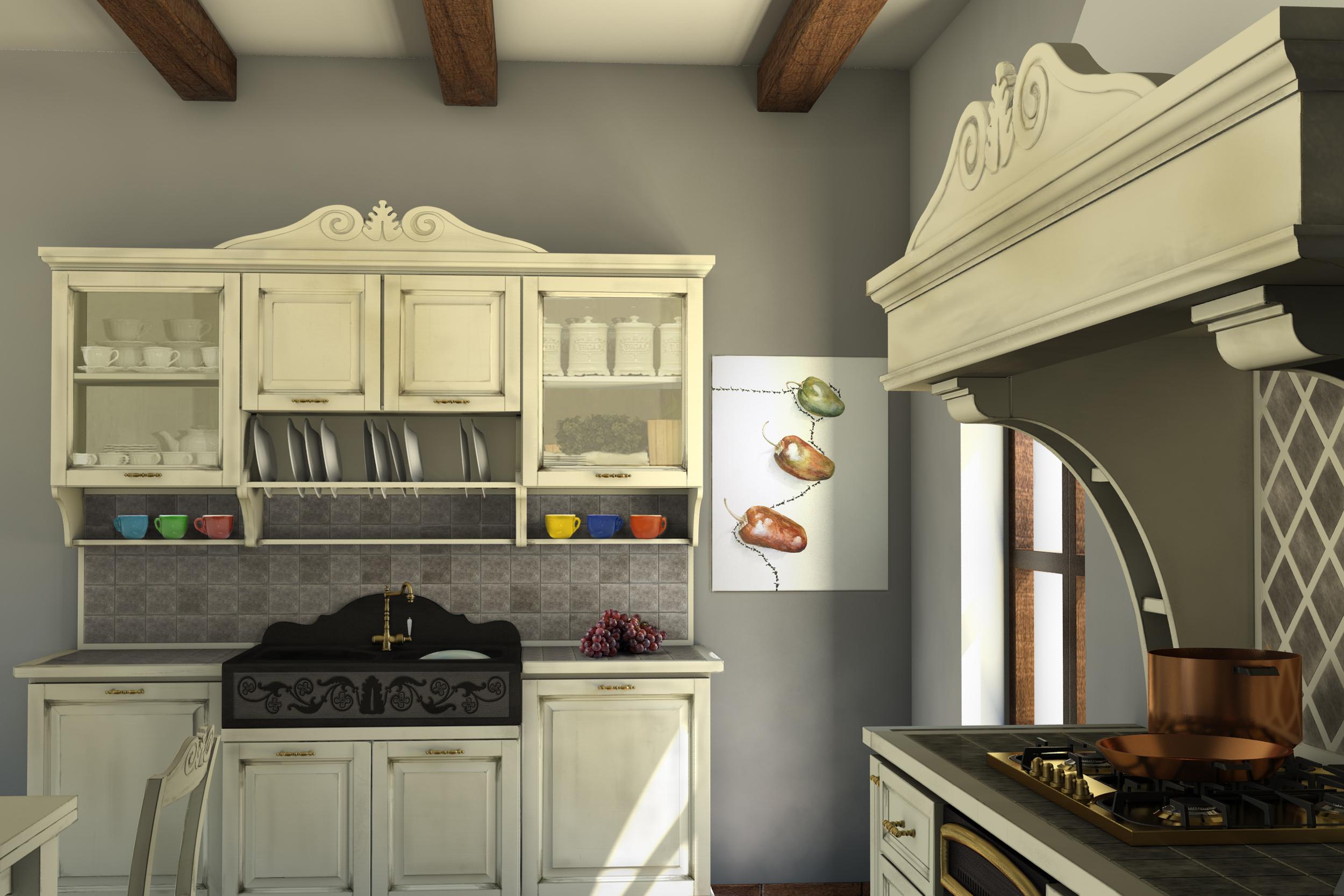 Cucine della Nonna - Cucina classica Shabby Chic – Cucina legno noce
